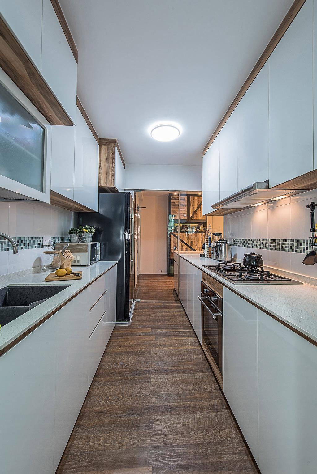 Industrial, HDB, Kitchen, Yishun Avenue 9 (Block 318C), Interior Designer, Icon Interior Design, Appliance, Electrical Device, Fridge, Refrigerator, Oven, Indoors, Interior Design, Room, Building, Housing, Loft