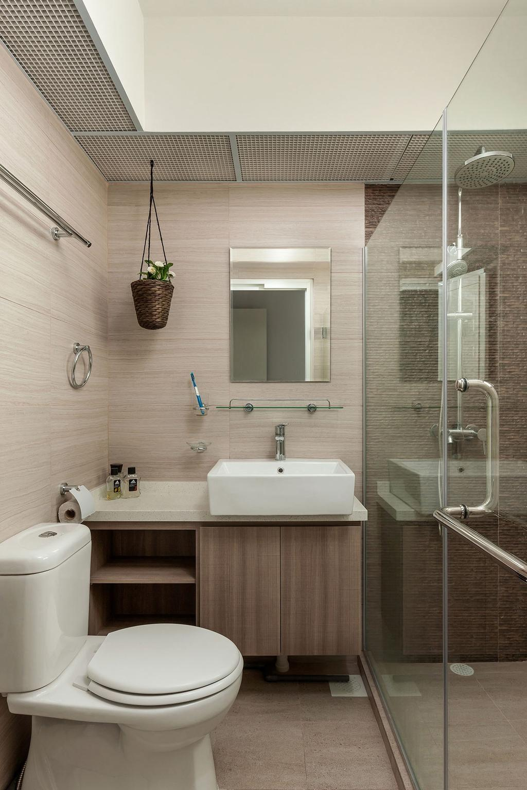 Modern, HDB, Bathroom, Fernvale Street (Block 471A), Interior Designer, Icon Interior Design, Minimalistic, Indoors, Interior Design, Room, Plumbing, Flora, Jar, Plant, Planter, Potted Plant, Pottery, Vase
