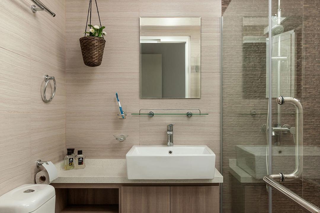 Fernvale Street (Block 471A), Icon Interior Design, Modern, Minimalistic, Bathroom, HDB, Indoors, Interior Design, Room, Plumbing, Flora, Jar, Plant, Planter, Potted Plant, Pottery, Vase