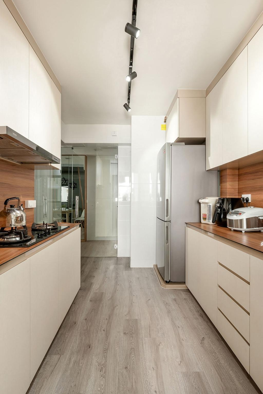 Modern, HDB, Kitchen, Fernvale Street (Block 471A), Interior Designer, Icon Interior Design, Minimalistic, Indoors, Interior Design, Room, Appliance, Electrical Device, Toaster