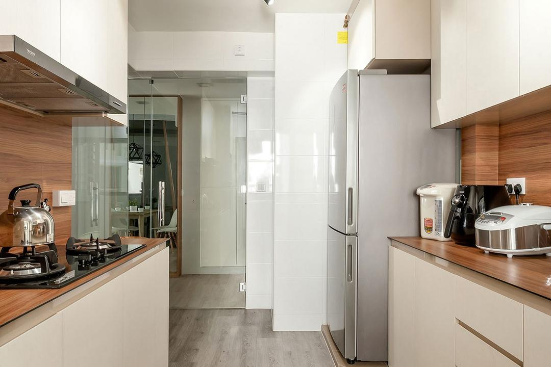 Fernvale Street (Block 471A), Icon Interior Design, Modern, Minimalistic, Kitchen, HDB, Indoors, Interior Design, Room, Appliance, Electrical Device, Toaster