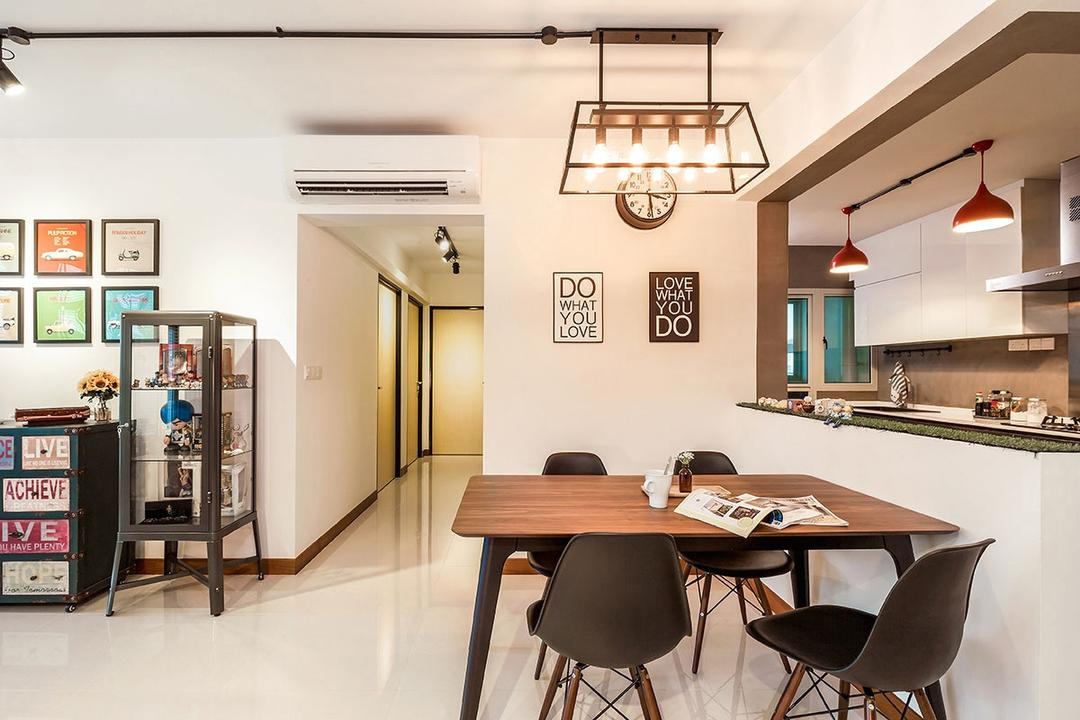 Waterway Woodcress (Block 667A), Icon Interior Design, Industrial, Dining Room, HDB, Light Fixture, Chair, Furniture, Dining Table, Table, Cabinet, China Cabinet, Indoors, Interior Design, Room