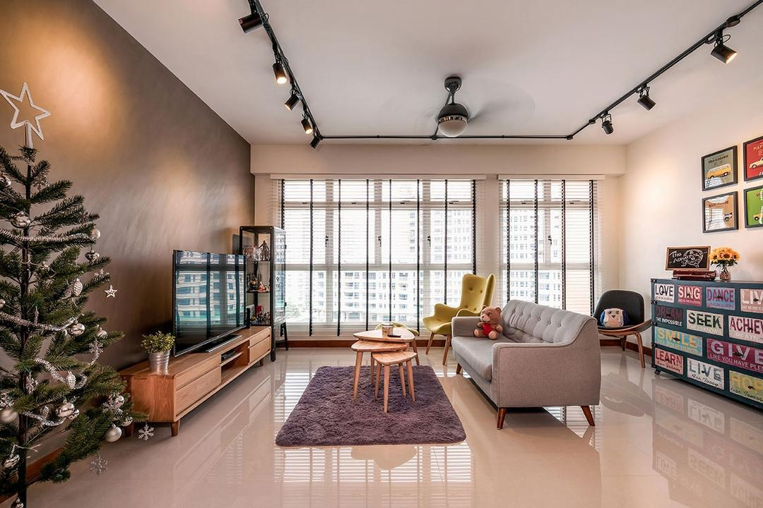 Waterway Woodcress (Block 667A), Icon Interior Design, Industrial, Living Room, HDB, Flora, Jar, Plant, Potted Plant, Pottery, Vase, Bonsai, Tree, Conifer, Pine, Indoors, Interior Design, Dining Room, Room, Dining Table, Furniture, Table
