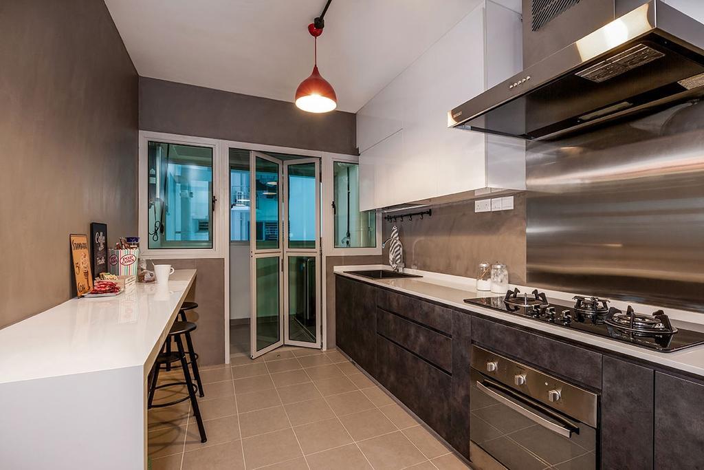 Industrial, HDB, Kitchen, Waterway Woodcress (Block 667A), Interior Designer, Icon Interior Design, Appliance, Electrical Device, Oven, Indoors, Interior Design, Room