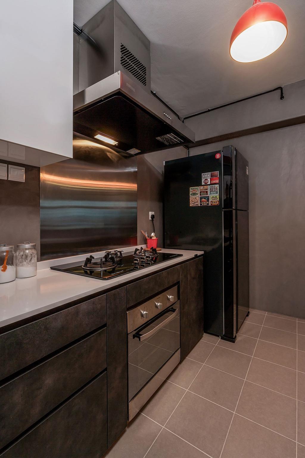 Industrial, HDB, Kitchen, Waterway Woodcress (Block 667A), Interior Designer, Icon Interior Design, Appliance, Electrical Device, Oven, Sink, Fridge, Refrigerator
