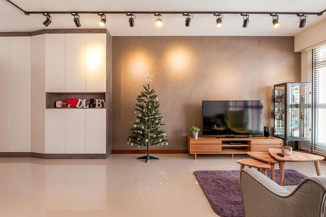 Waterway Woodcress (Block 667A), Icon Interior Design, Industrial, Living Room, HDB, Conifer, Flora, Pine, Plant, Tree, Chair, Furniture