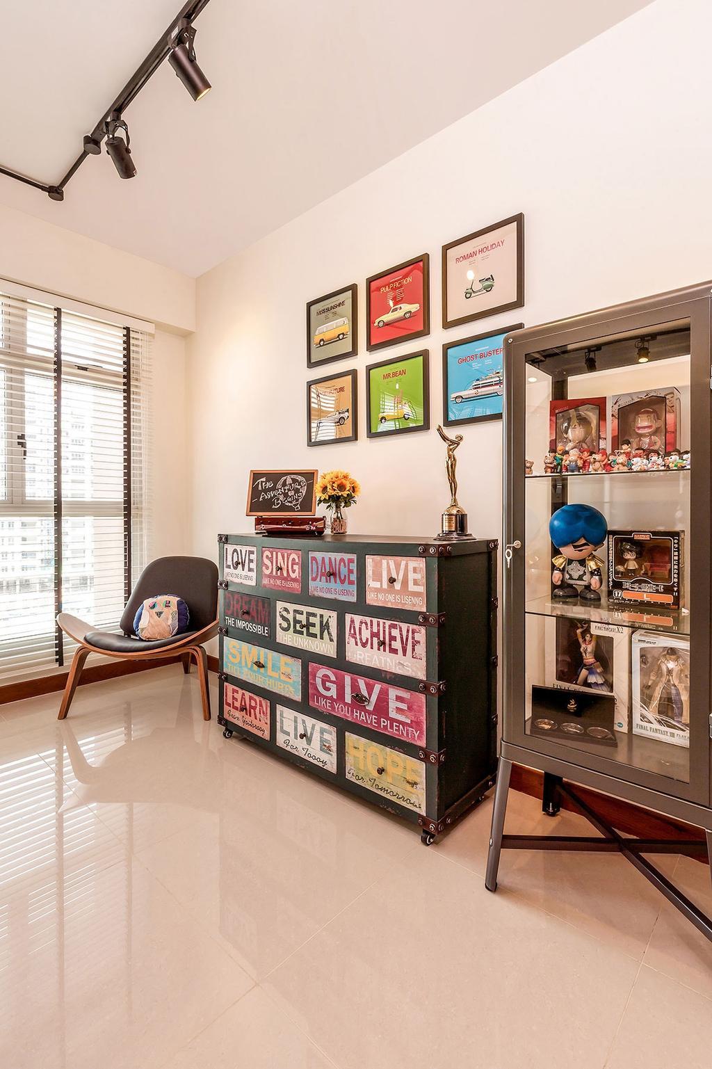 Industrial, HDB, Living Room, Waterway Woodcress (Block 667A), Interior Designer, Icon Interior Design, Chair, Furniture, Indoors, Nursery, Room