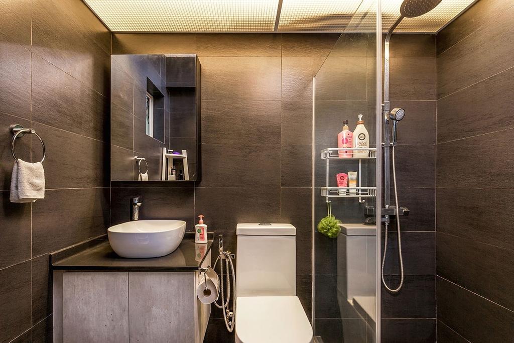 Industrial, HDB, Bathroom, Waterway Woodcress (Block 667A), Interior Designer, Icon Interior Design, Indoors, Interior Design, Room