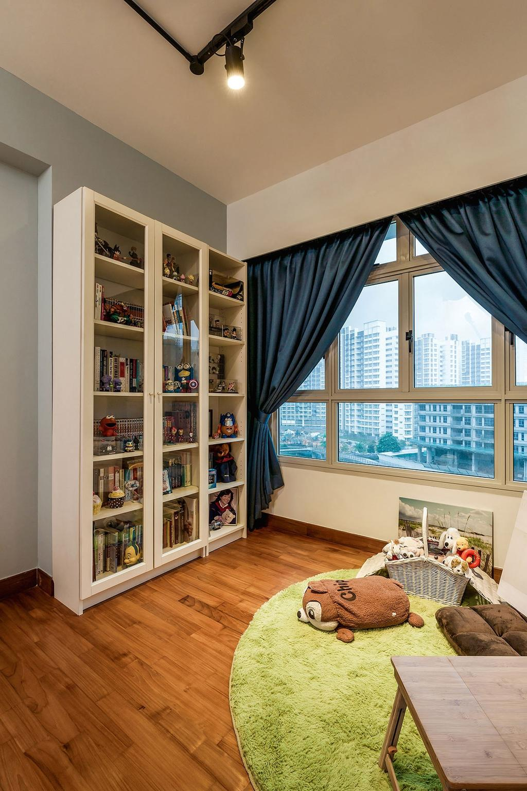 Industrial, HDB, Study, Waterway Woodcress (Block 667A), Interior Designer, Icon Interior Design, Bookcase, Furniture, Bedroom, Indoors, Interior Design, Room