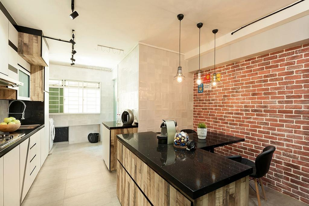 Industrial, HDB, Dining Room, Pasir Ris Street 72 (Block 713), Interior Designer, Icon Interior Design, Brick, Coffee Table, Furniture, Table, Appliance, Electrical Device, Oven