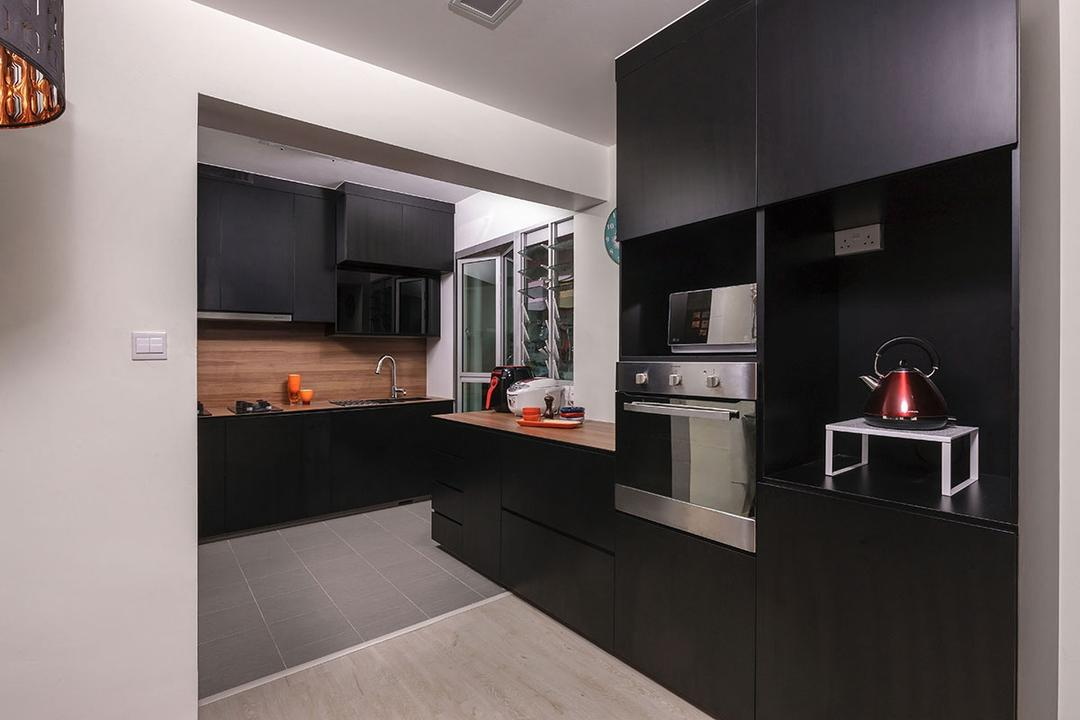 Choa Chu Kang (Block 815B), Icon Interior Design, Modern, Kitchen, HDB, Appliance, Electrical Device, Oven, Building, Housing, Indoors, Loft, Lamp, Table Lamp