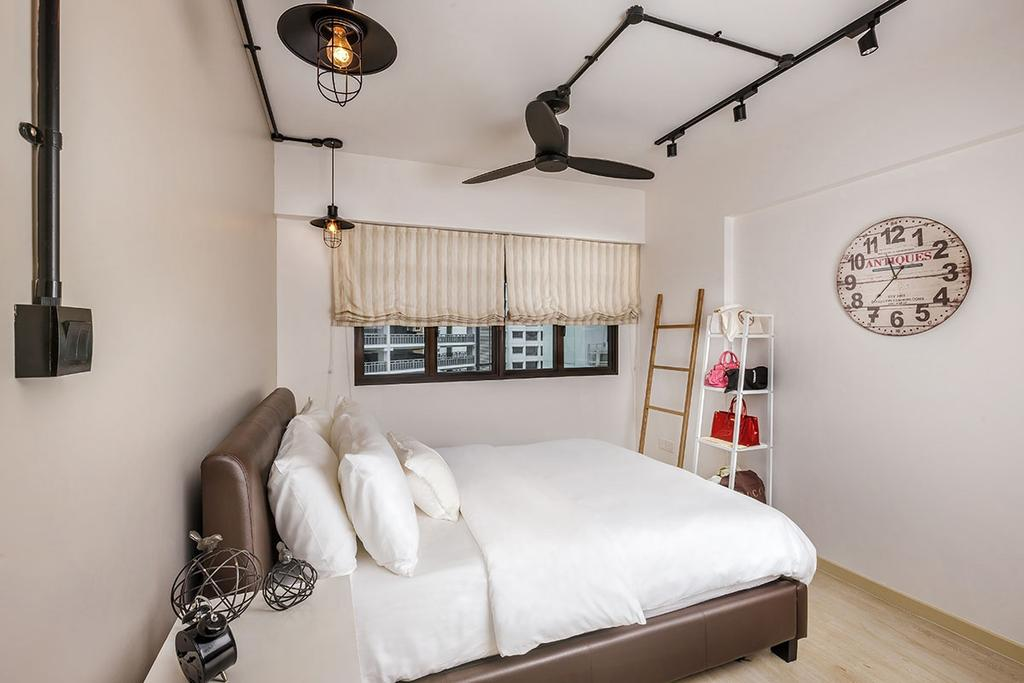 Eclectic, HDB, Bedroom, Tampines Avenue 8 (Block 868B), Interior Designer, Icon Interior Design, Shelf, Light Fixture, Indoors, Interior Design, Room, Closet, Furniture, Wardrobe, Bed