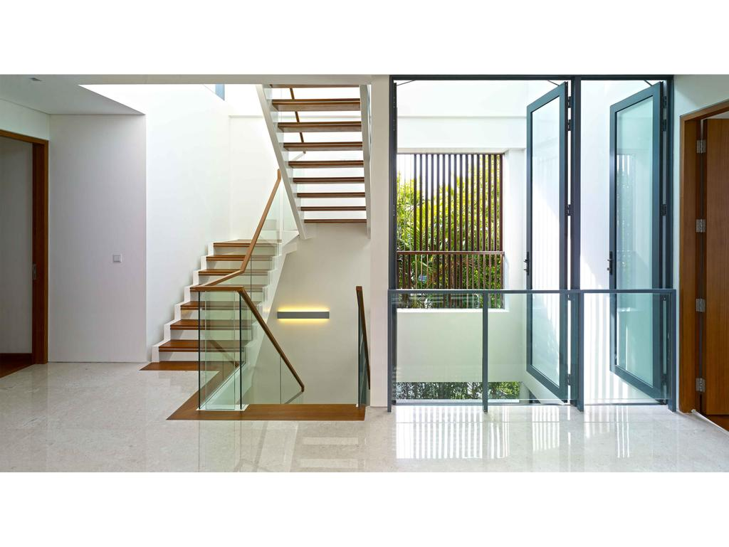 Modern, Landed, 26 Berrima Road, Architect, TENarchitects, Banister, Handrail, Staircase, HDB, Building, Housing, Indoors, Loft, Door, Folding Door