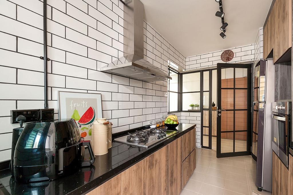 Industrial, HDB, Kitchen, Choa Chu Kang, Interior Designer, Icon Interior Design, Building, Housing, Indoors, Loft