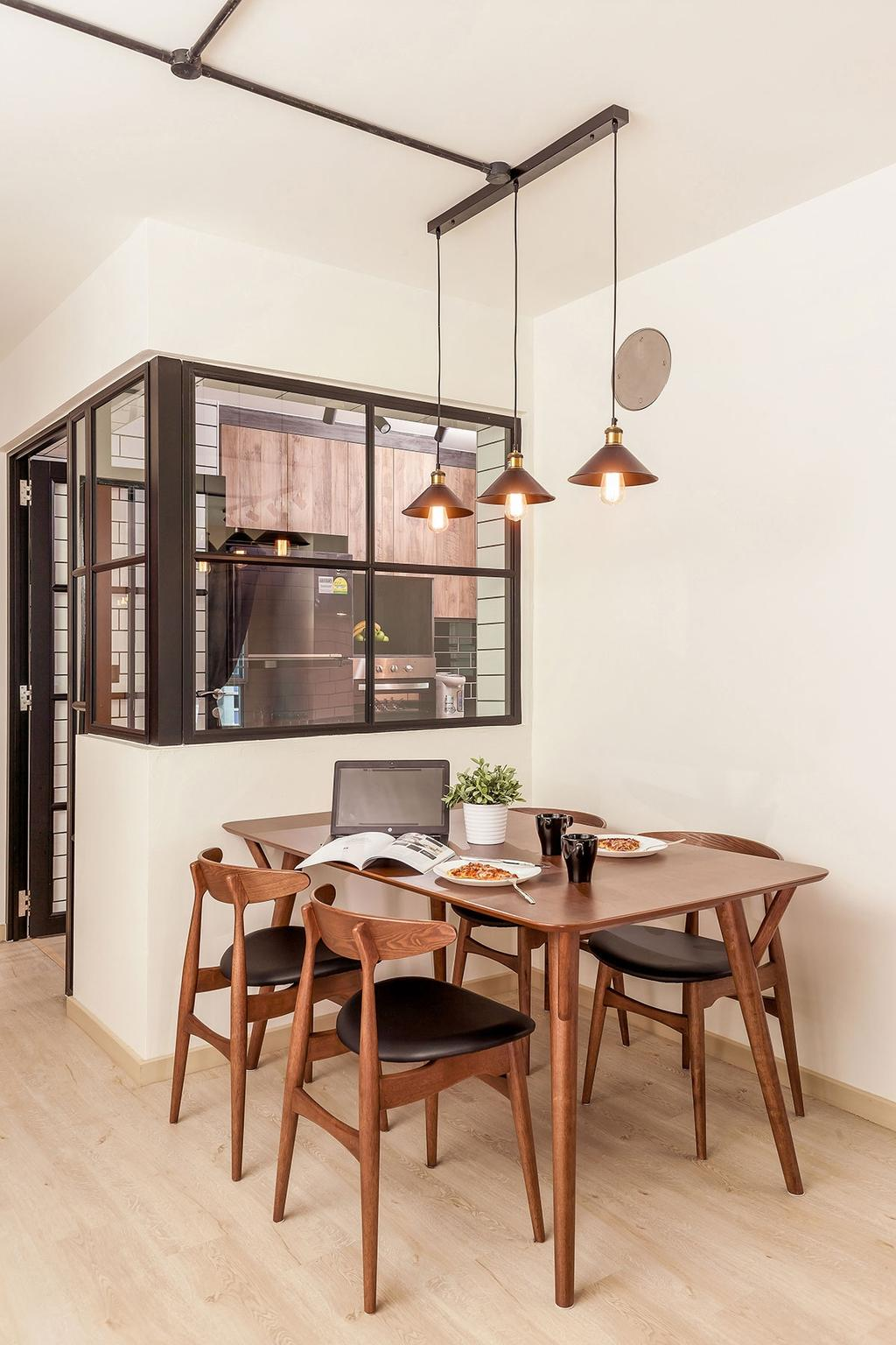 Industrial, HDB, Dining Room, Choa Chu Kang, Interior Designer, Icon Interior Design, Indoors, Interior Design, Room, Dining Table, Furniture, Table, Chair, Cardboard