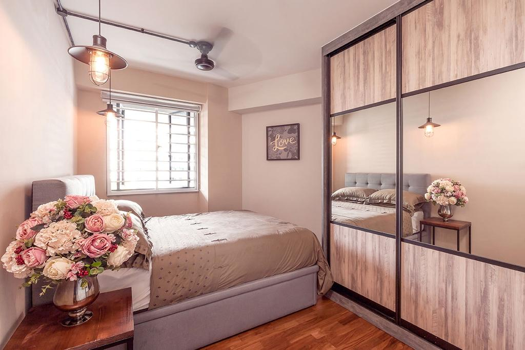 Eclectic, HDB, Bedroom, Punggol, Interior Designer, Icon Interior Design, Indoors, Interior Design, Room, Blossom, Flora, Flower, Peony, Plant