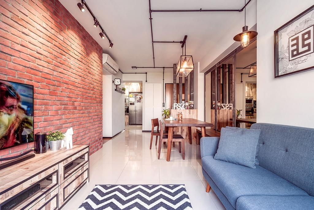 Eclectic, HDB, Living Room, Punggol, Interior Designer, Icon Interior Design, Human, People, Person, Dining Table, Furniture, Table, Flora, Jar, Plant, Potted Plant, Pottery, Vase, Dining Room, Indoors, Interior Design, Room, Couch