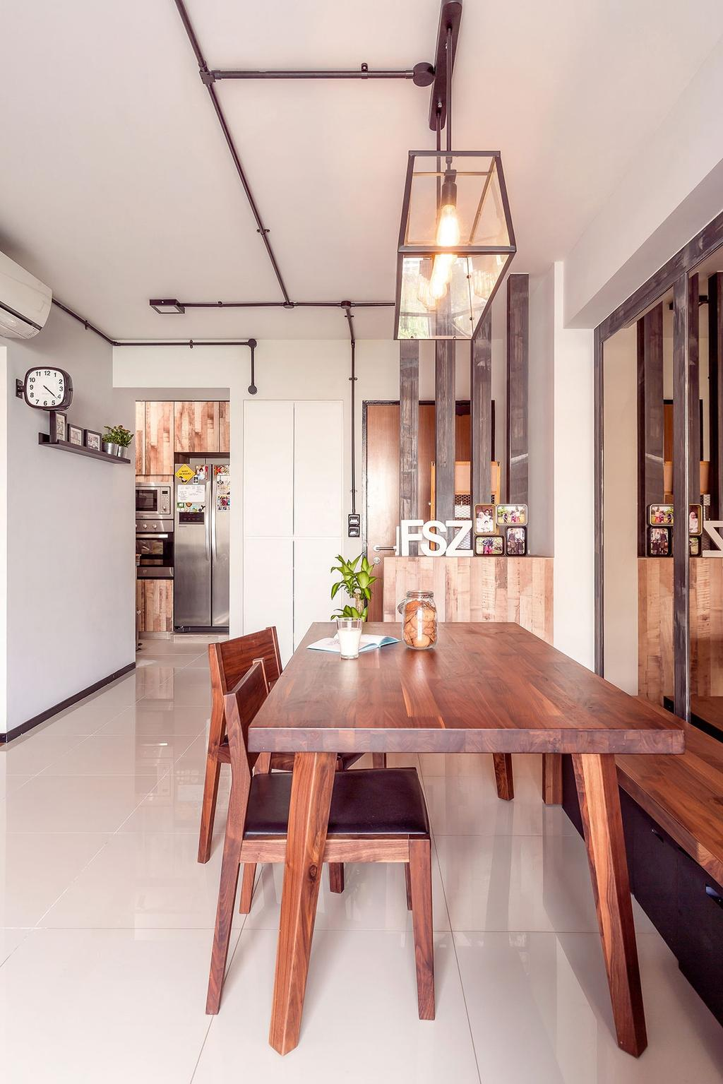 Eclectic, HDB, Dining Room, Punggol, Interior Designer, Icon Interior Design, Dining Table, Furniture, Table, Hardwood, Stained Wood, Wood, Indoors, Interior Design, Room