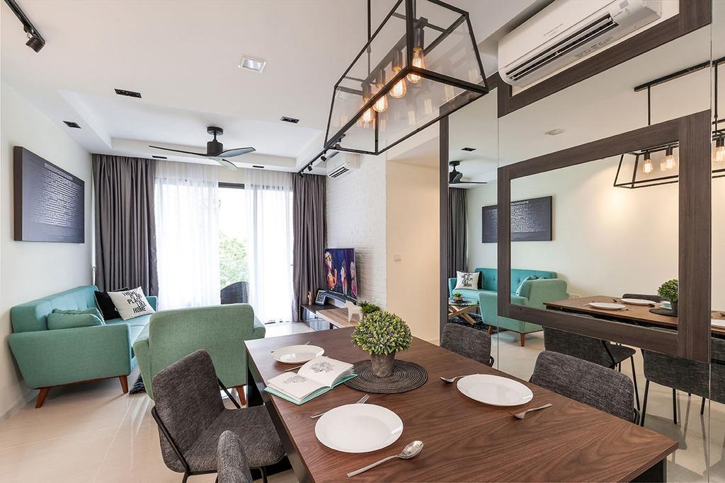 Contemporary, HDB, Dining Room, Sengkang, Interior Designer, Icon Interior Design, Bench, Indoors, Interior Design, Room, Chair, Furniture, Dining Table, Table