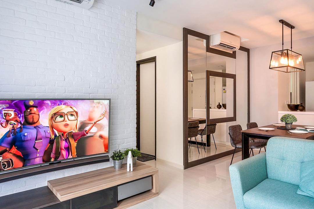 Sengkang, Icon Interior Design, Contemporary, Living Room, HDB, Couch, Furniture, Coffee Table, Table, Comics, Manga, Dining Table