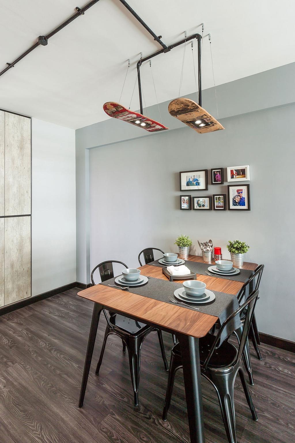 Industrial, HDB, Dining Room, Yishun, Interior Designer, Icon Interior Design, Indoors, Interior Design, Room, Dining Table, Furniture, Table