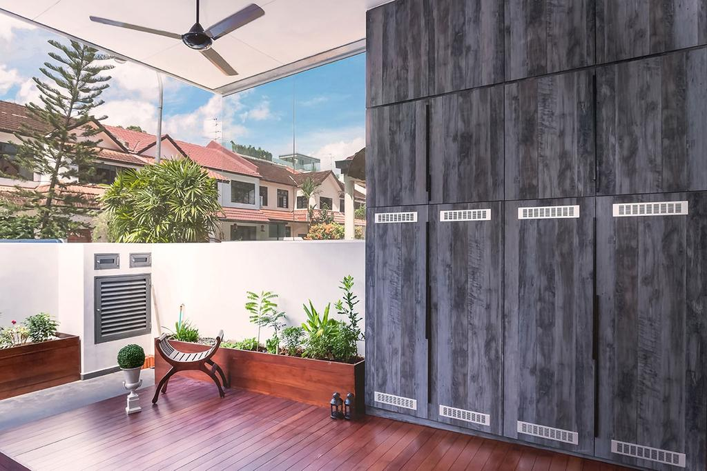 Modern, Landed, Balcony, Jalan Kayu, Interior Designer, Icon Interior Design, Flora, Jar, Plant, Potted Plant, Pottery, Vase, Conifer, Pine, Tree, Terrace