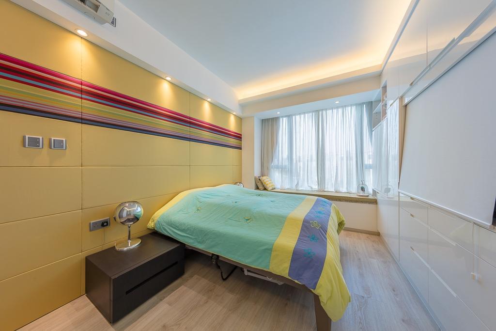 當代, 私家樓, 睡房, 逸瓏灣, 室內設計師, am PLUS, Bed, Furniture