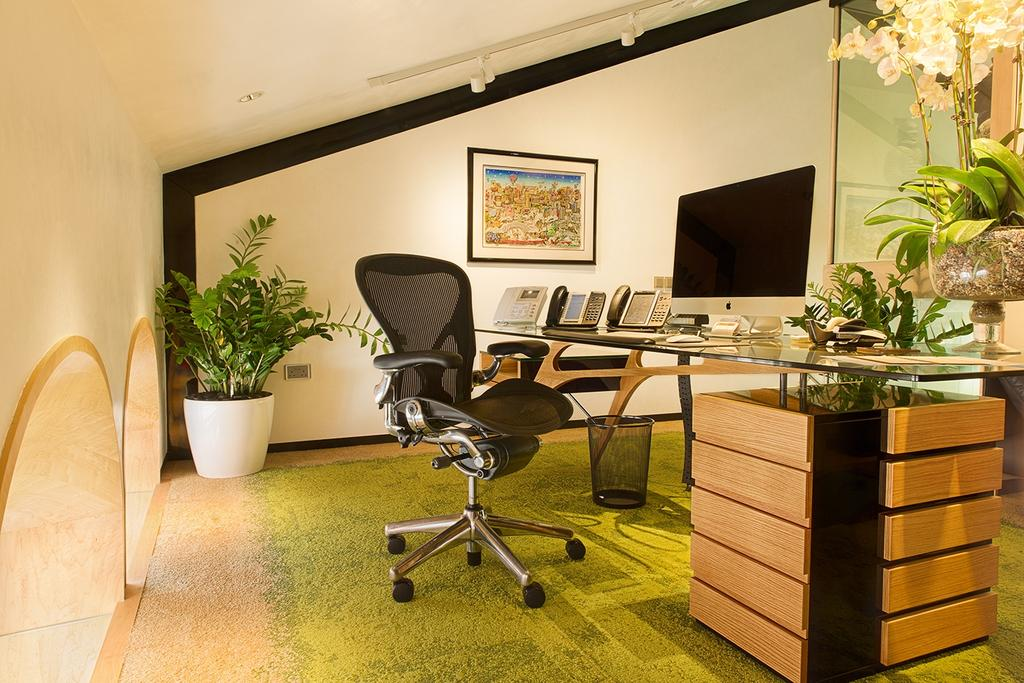 Patrick Office, Commercial, Architect, KAIA Architects, Eclectic, Flora, Jar, Plant, Potted Plant, Pottery, Vase, Chair, Furniture, Art, Blossom, Flower, Flower Arrangement, Ikebana, Ornament, Dining Room, Indoors, Interior Design, Room, Hardwood, Wood