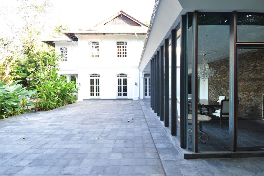 Three Pavillion, KAIA Architects, Traditional, Landed, Door, Folding Door, Path, Pavement, Sidewalk, Walkway