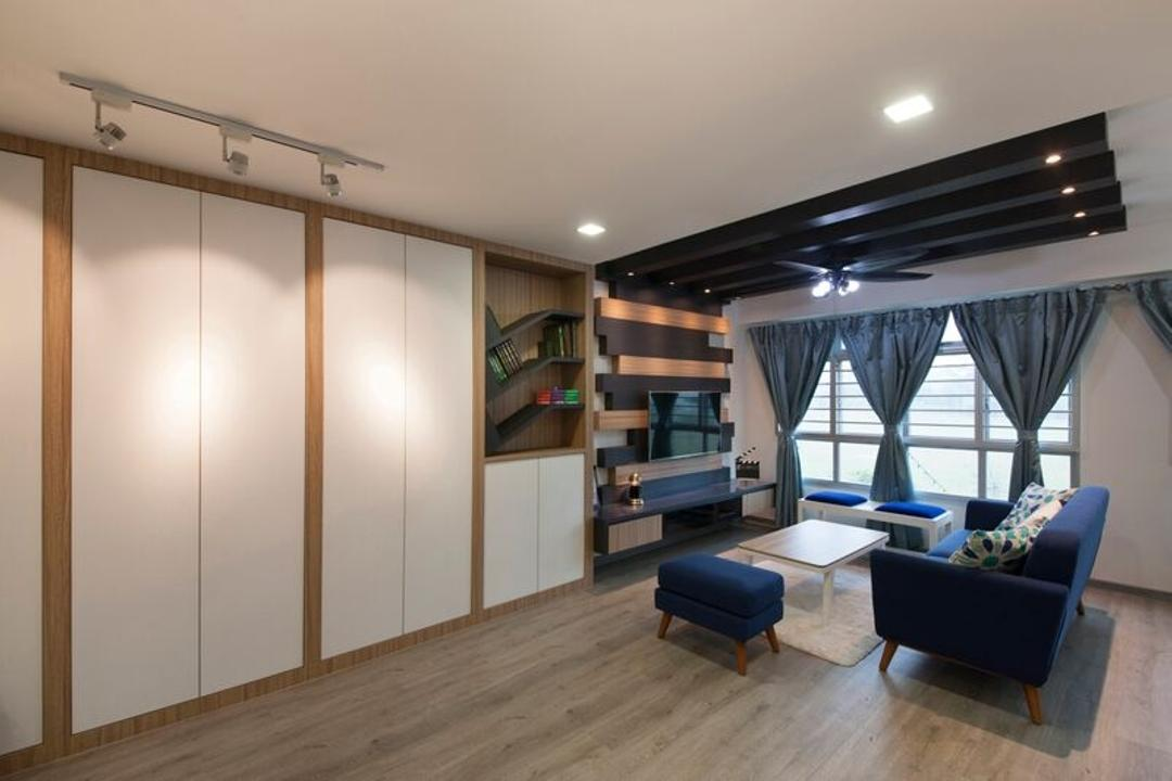 Punggol (Block 312C), DreamCreations Interior, Traditional, Living Room, HDB, Feature Wall, False Ceiling, Track Light, Ceiling Fan With Light, Sofa, Couch, Fabric Sofa, Blue Sofa, Coffee Table, Shelves, Cabinets, Wooden Flooring, Bookcase, Furniture, Indoors, Interior Design