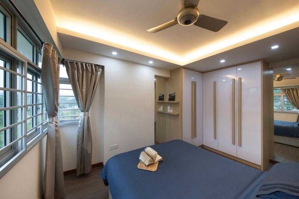 Traditional, HDB, Bedroom, Punggol (Block 312C), Interior Designer, DreamCreations Interior, False Ceiling, Cove Lighting, Wardrobe, Shelves, Floating Shelves, Indoors, Room, Interior Design