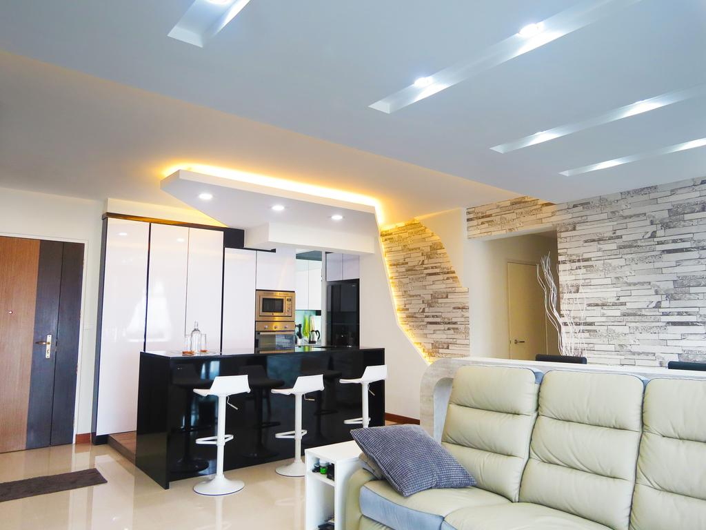 Modern, HDB, Living Room, Waterway Woodcress (Block 666B), Interior Designer, DreamCreations Interior, Sofa, False Ceiling, Feature Wall, Cove Lighting, Bar Table, Bar Stools, Kitchen Cabinets, Wallpaper, Couch, Furniture, Sink