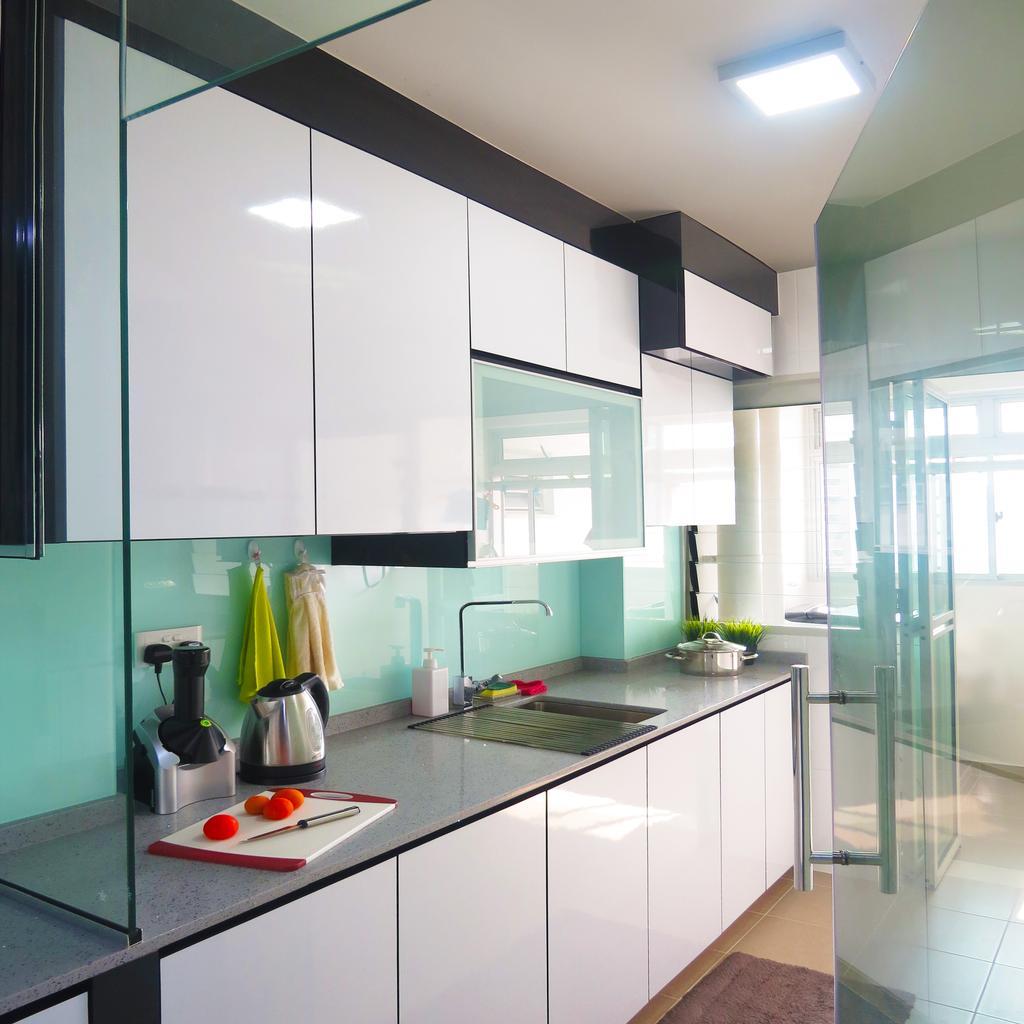 Modern, HDB, Kitchen, Waterway Woodcress (Block 666B), Interior Designer, DreamCreations Interior, Kitchen Cabinets, Cabinetry, Sink, Kitchen Sink, Turquoise, Indoors, Interior Design, Room
