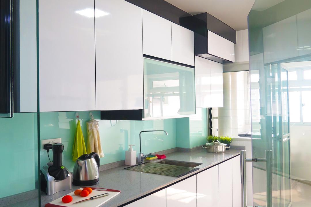Waterway Woodcress (Block 666B), DreamCreations Interior, Modern, Kitchen, HDB, Kitchen Cabinets, Cabinetry, Sink, Kitchen Sink, Turquoise, Indoors, Interior Design, Room