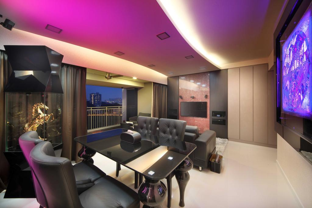 Traditional, Condo, Dining Room, The Peak B (Block 139A), Interior Designer, De Exclusive Design Group, Couch, Furniture, Chair, Balcony, Lighting