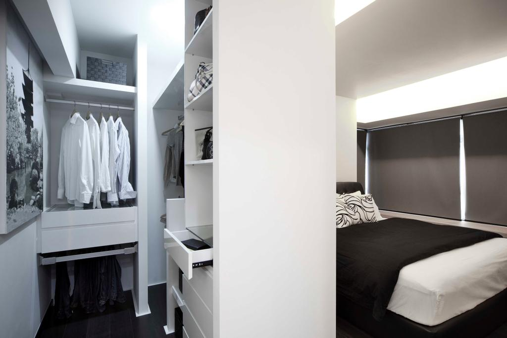 Modern, HDB, Bedroom, Strathmore Avenue (Block 62A), Interior Designer, De Exclusive Design Group, Closet, Furniture, Wardrobe, Bed, Shelf, Drawer
