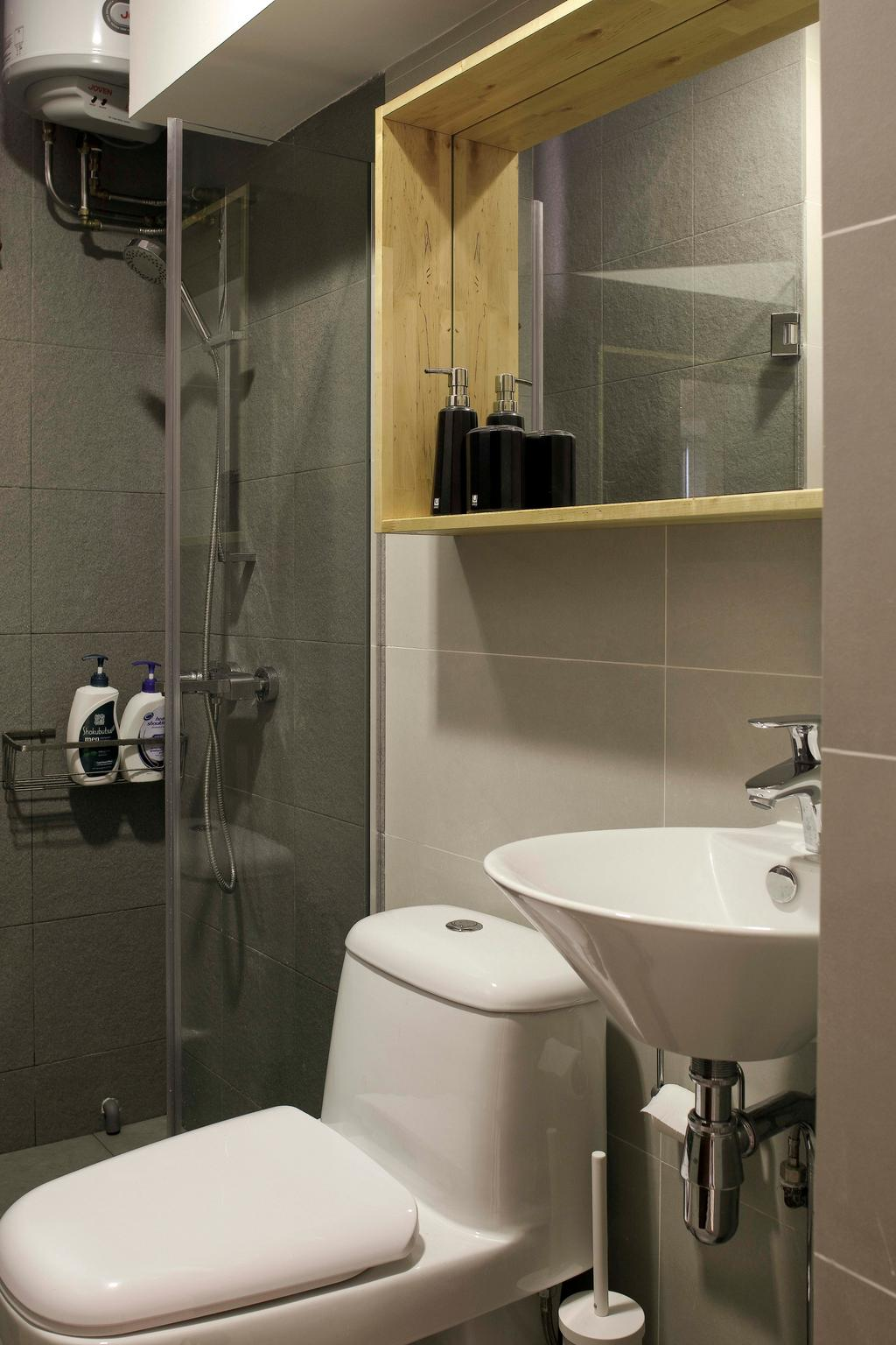 Modern, HDB, Bathroom, Segar Road (Block 479), Interior Designer, De Exclusive Design Group, Tap, Bottle, Indoors, Interior Design, Room