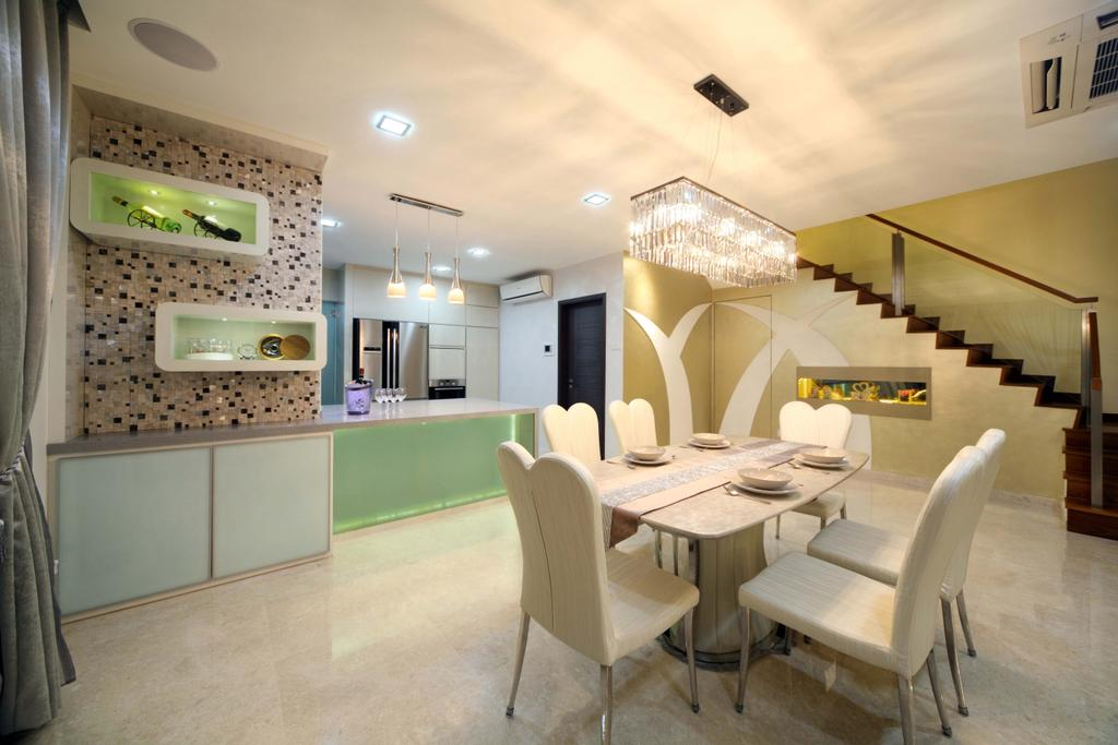 Modern, Landed, Dining Room, Lentor Street, Interior Designer, De Exclusive Design Group, Chair, Furniture, Dining Table, Table, Indoors, Interior Design, Room, Flooring