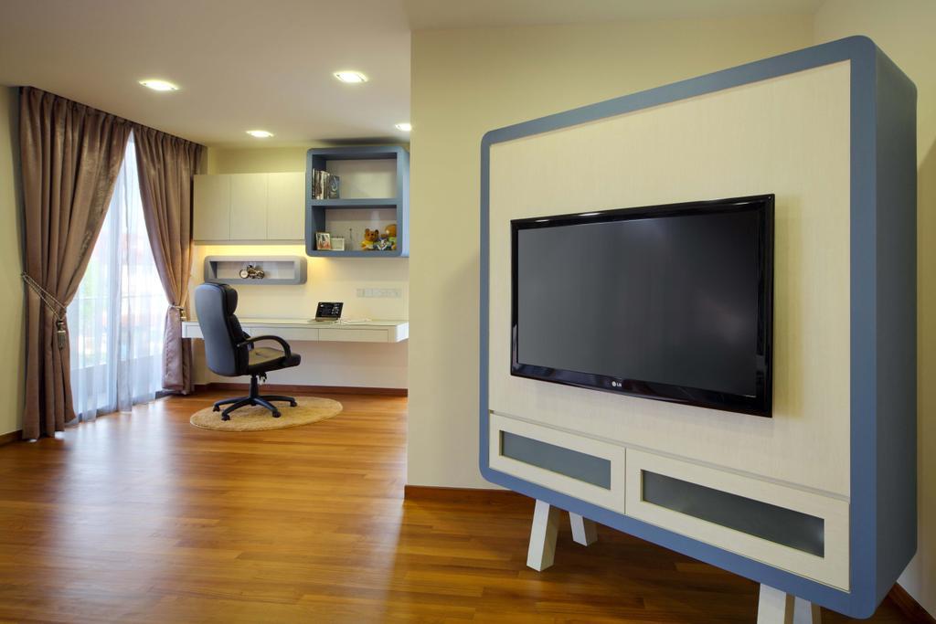 Modern, Landed, Bedroom, Lentor Street, Interior Designer, De Exclusive Design Group, Flooring, Electronics, Monitor, Screen, Tv, Television