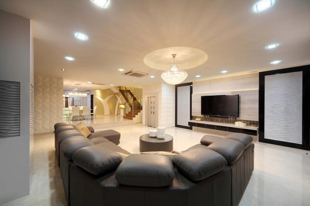 Modern, Landed, Living Room, Lentor Street, Interior Designer, De Exclusive Design Group, Couch, Furniture, Indoors, Lobby, Room, Interior Design, Hall