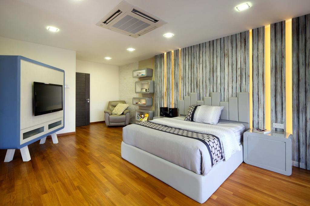 Modern, Landed, Bedroom, Lentor Street, Interior Designer, De Exclusive Design Group, Hardwood, Wood, Indoors, Interior Design, Bed, Furniture
