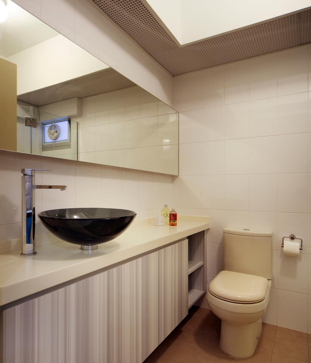 Contemporary, HDB, Bathroom, Compassvale Lane (Block 211D), Interior Designer, De Exclusive Design Group, Toilet, Clock, Indoors, Interior Design, Kitchen, Room