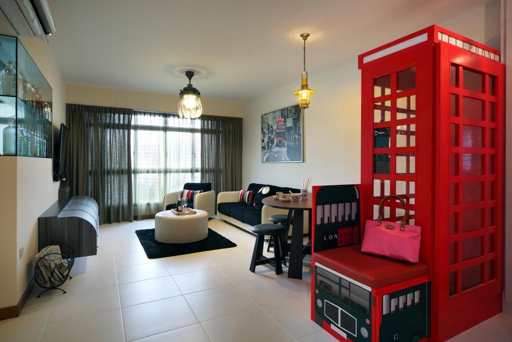 Contemporary, HDB, Living Room, Compassvale Lane (Block 211D), Interior Designer, De Exclusive Design Group, Couch, Furniture, Phone Booth, Dining Room, Indoors, Interior Design, Room