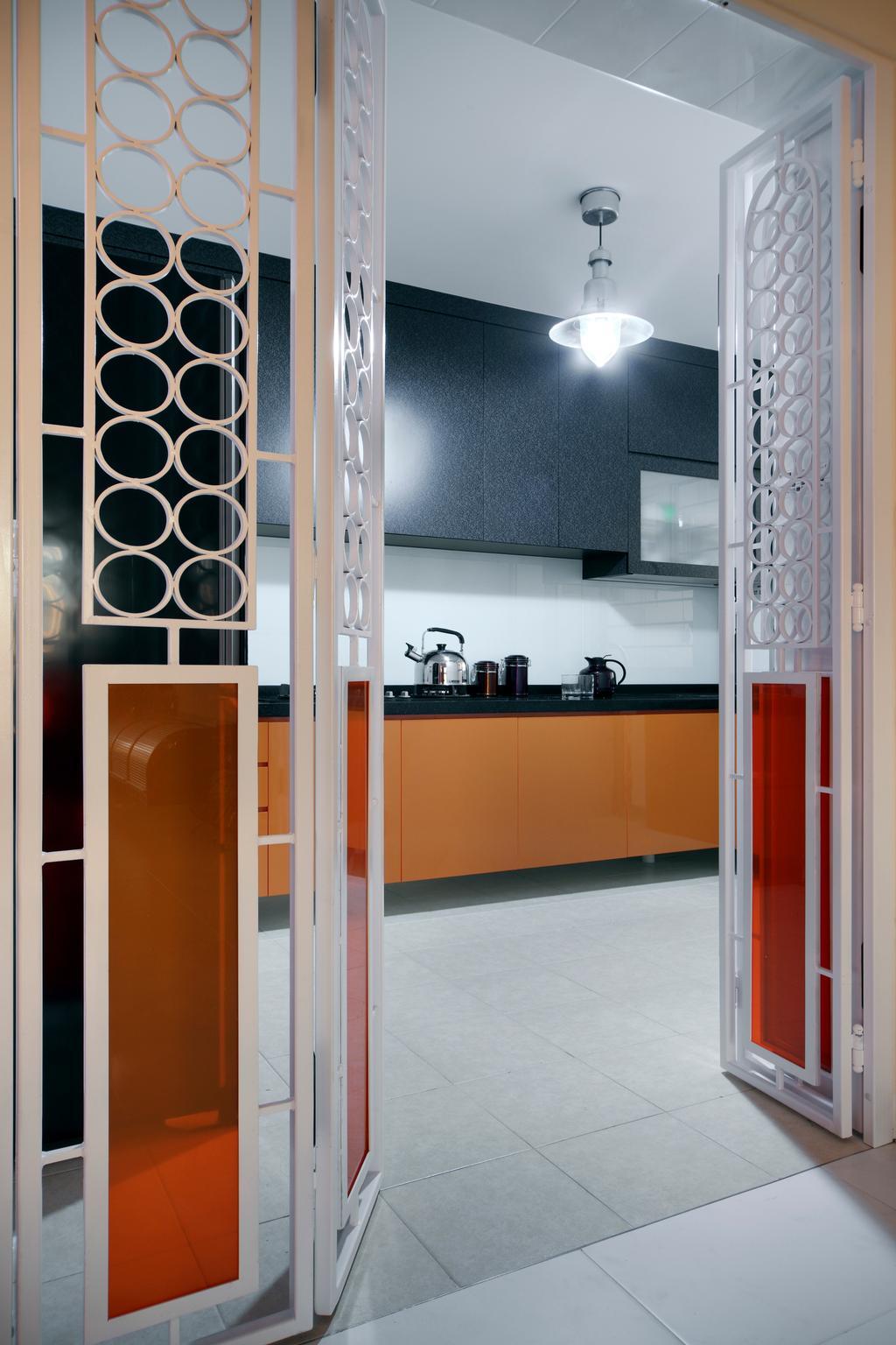 Contemporary, HDB, Kitchen, Compassvale Lane (Block 211D), Interior Designer, De Exclusive Design Group, Appliance, Electrical Device, Microwave, Oven