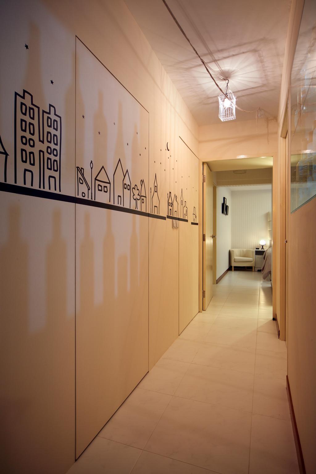 Contemporary, HDB, Compassvale Lane (Block 211D), Interior Designer, De Exclusive Design Group, Corridor