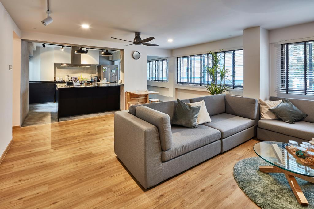 Contemporary, HDB, Living Room, Pasir Ris Street 12 (Block 191), Interior Designer, Voila, Couch, Furniture, Hardwood, Wood