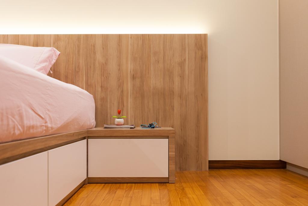 Modern, Condo, Bedroom, Sky Habitat, Interior Designer, Charlotte's Carpentry, Flooring, Bed, Furniture