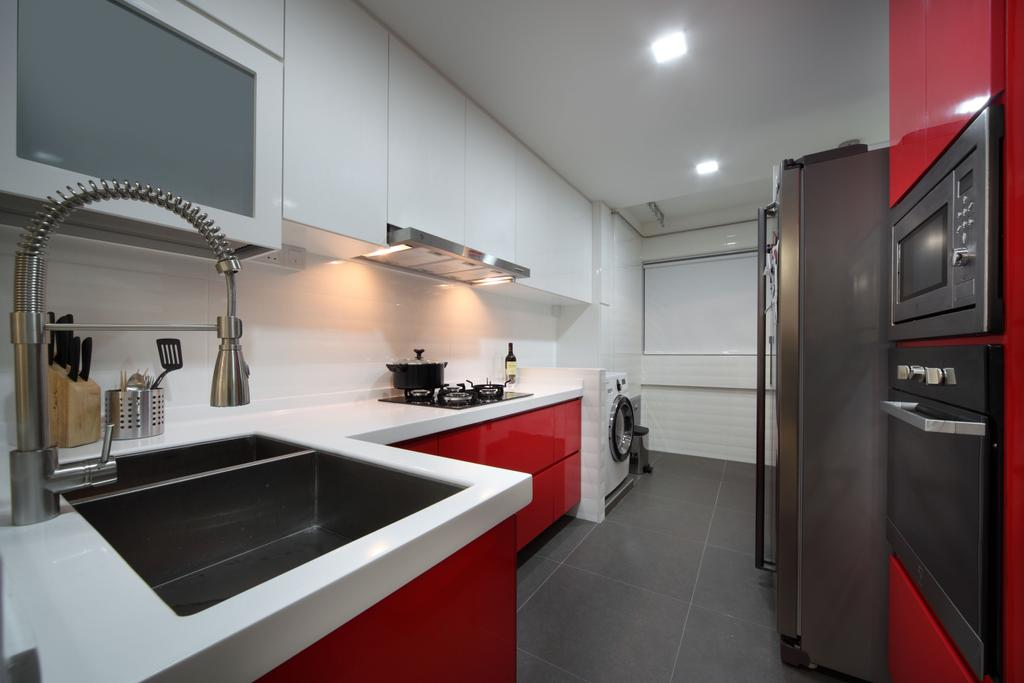 Contemporary, HDB, Kitchen, Bishan (Block 196), Interior Designer, De Exclusive Design Group, Sink, Tile, Appliance, Electrical Device, Fridge, Refrigerator, Indoors, Interior Design, Room