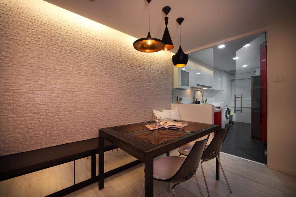 Contemporary, HDB, Dining Room, Bishan (Block 196), Interior Designer, De Exclusive Design Group, Chair, Furniture, Indoors, Interior Design, Room