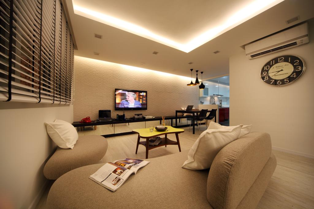 Contemporary, HDB, Living Room, Bishan (Block 196), Interior Designer, De Exclusive Design Group, Couch, Furniture, Dining Table, Table